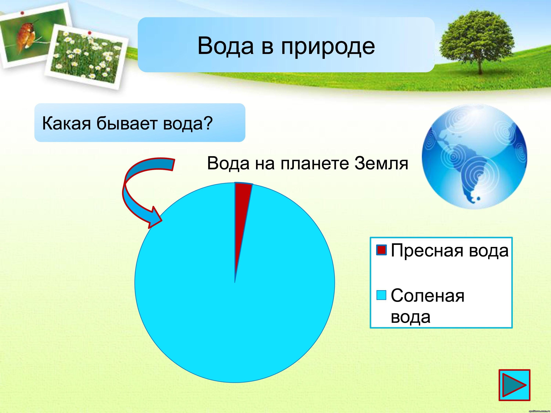 сколько процентов занимает пресная вода